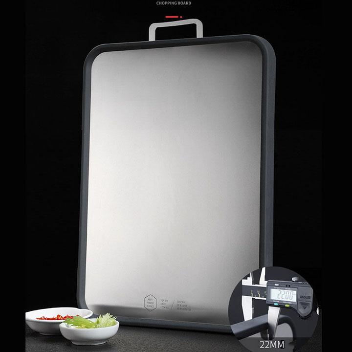 Thớt inox kháng khuẩn, chống ẩm mốc - Thớt làm bếp 2 mặt, 3 lớp inox, gỗ nhựa chắc chắn, có viền cao su chống ồn