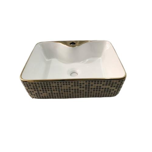 Lavabo gốm sứ mạ vàng caro