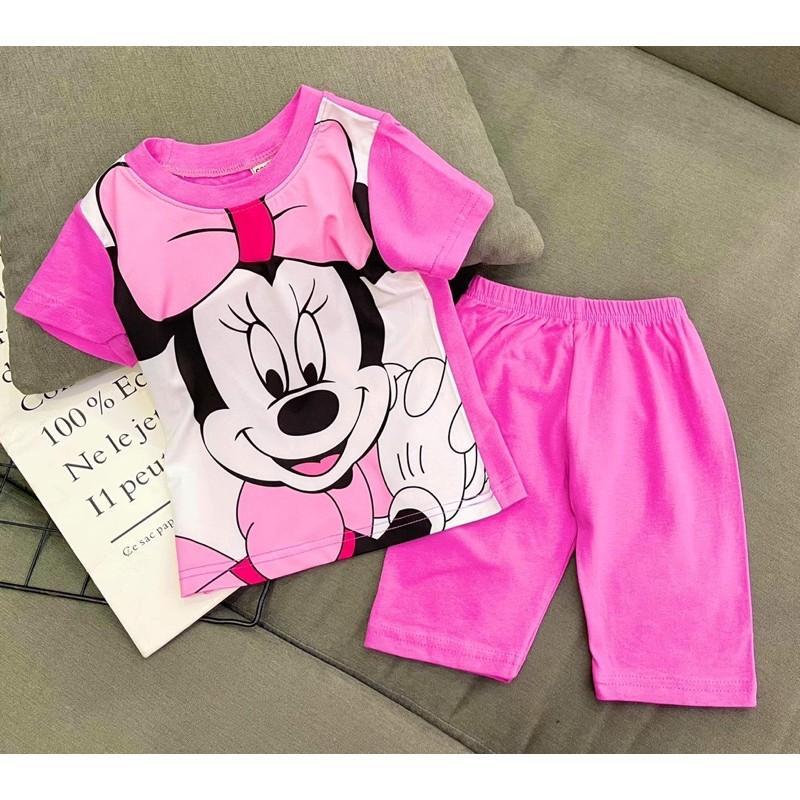 Bộ ngố quần lửng thun cotton chính phẩm phối thun lạnh siêu cute cho bé gái - Bộ quần áo bé gái