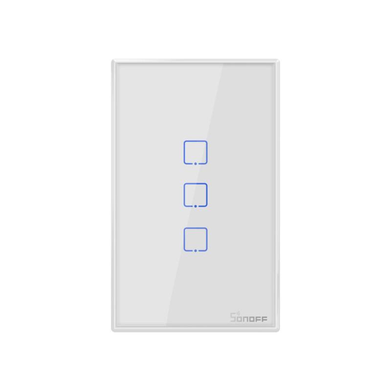 Công tắc WiFi Âm Tường Cảm Ứng Sonoff  Điều Khiển Qua Điện Thoại T2US  3 Kênh