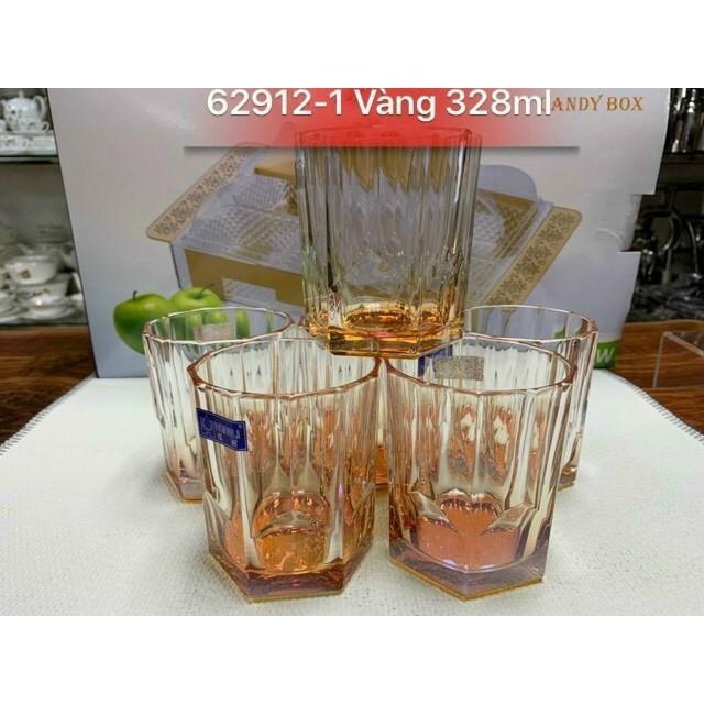 Bộ 6 cốc thủy tinh màu đẹp cao cấp nhiều cạnh