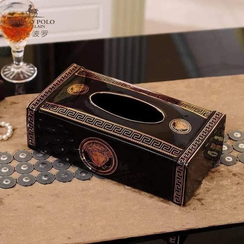 Hộp đựng giấy bằng sứ bày bàn ăn hình chữ nhật