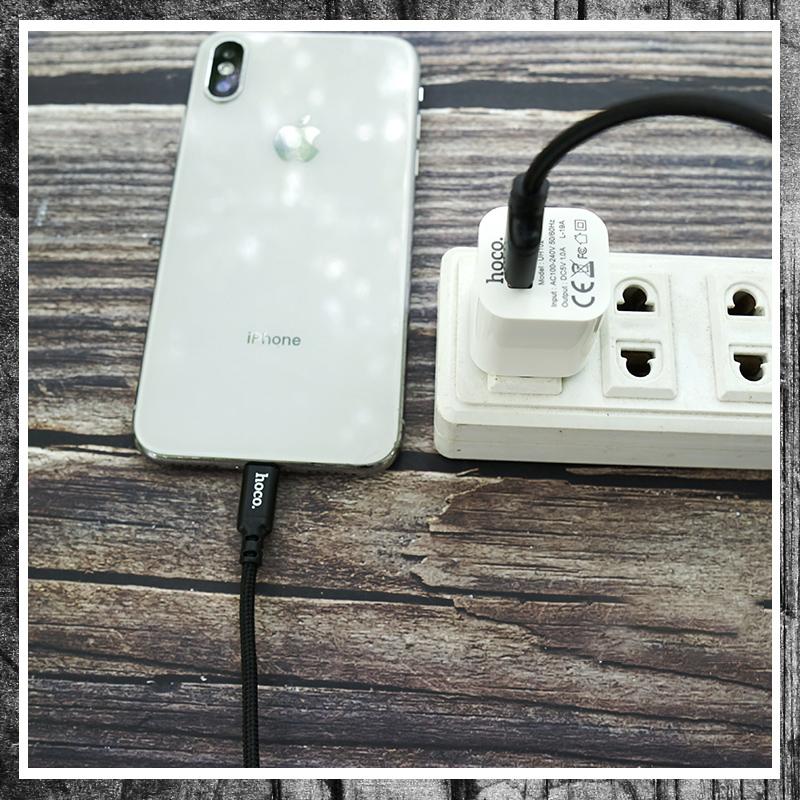 Bộ sạc Hoco UH102 và cáp sạc iphone X14 dây dù - hàng chính hãng