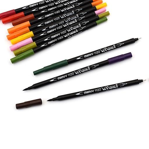 Bút lông hai đầu màu nước Marvy LePlume II 1122 - Brush/ Extra fine tip - Black (1)