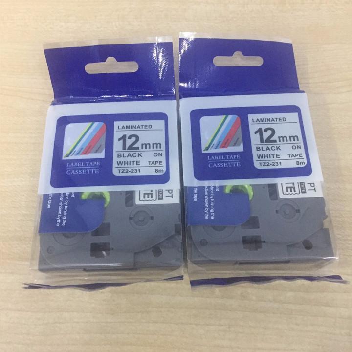 Combo 02 cuộn nhãn TZ2-231 tiêu chuẩn - Chữ đen trên nền trắng 12mm - Hàng nhập khẩu