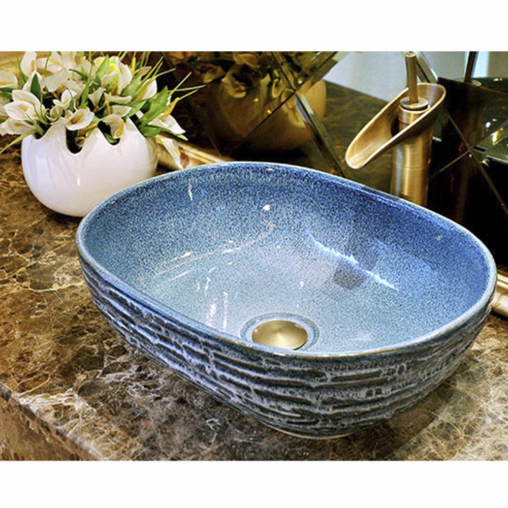 Chậu rửa lavabo gốm sứ nghệ thuật LAV0032 – Thiết kế hình chữ nhật mới lạ