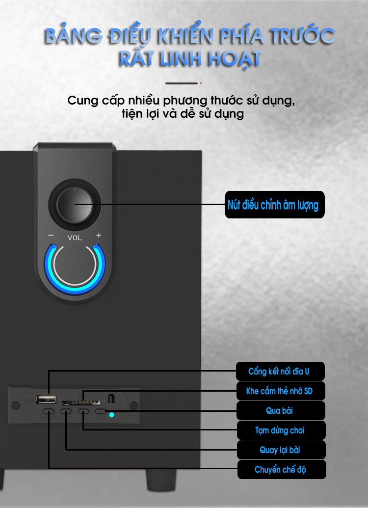 Loa bluetooth vi tính super bass cho điện thoại máy tính bảng, laptop, âm thanh cực chuẩn bass âm trầm PKCB139 - Hàng chính hãng