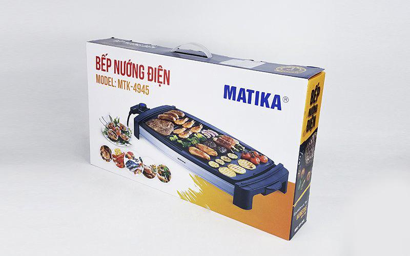 Bếp Nướng Điện,Vỉ Nướng Điện 2000W Matika MTK-4945 Chống Dính Vân Đá Hoa Cương Rơ-Le Tự Ngắt An Toàn-Hàng Chính Hãng