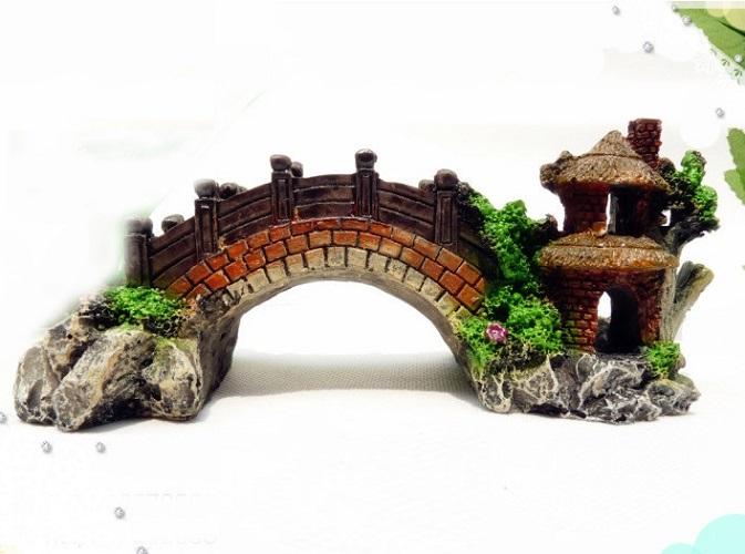 Cây cầu nhựa trang trí bể cá -Mô hình cầu non bộ trang trí hồ cá 7*19*8 cm+ Tặng hình dán ngẫu nhiên