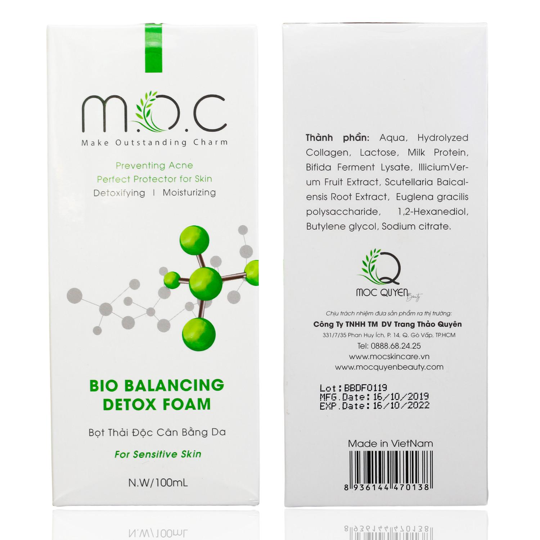 Detox Thải Độc Cân Bằng Da M.O.C - Tặng 1 Miếng Mặt Nạ Sinh Học Collagen Dịu Da M.O.C - Detox thay thế được Toner, nước hoa hồng, Se khít lỗ chân lông, trắng da, Thanh lọc da, ngăn ngừa mụn