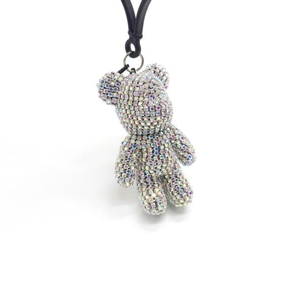 Móc Khóa Gấu Popobe Đính Đá Trắng