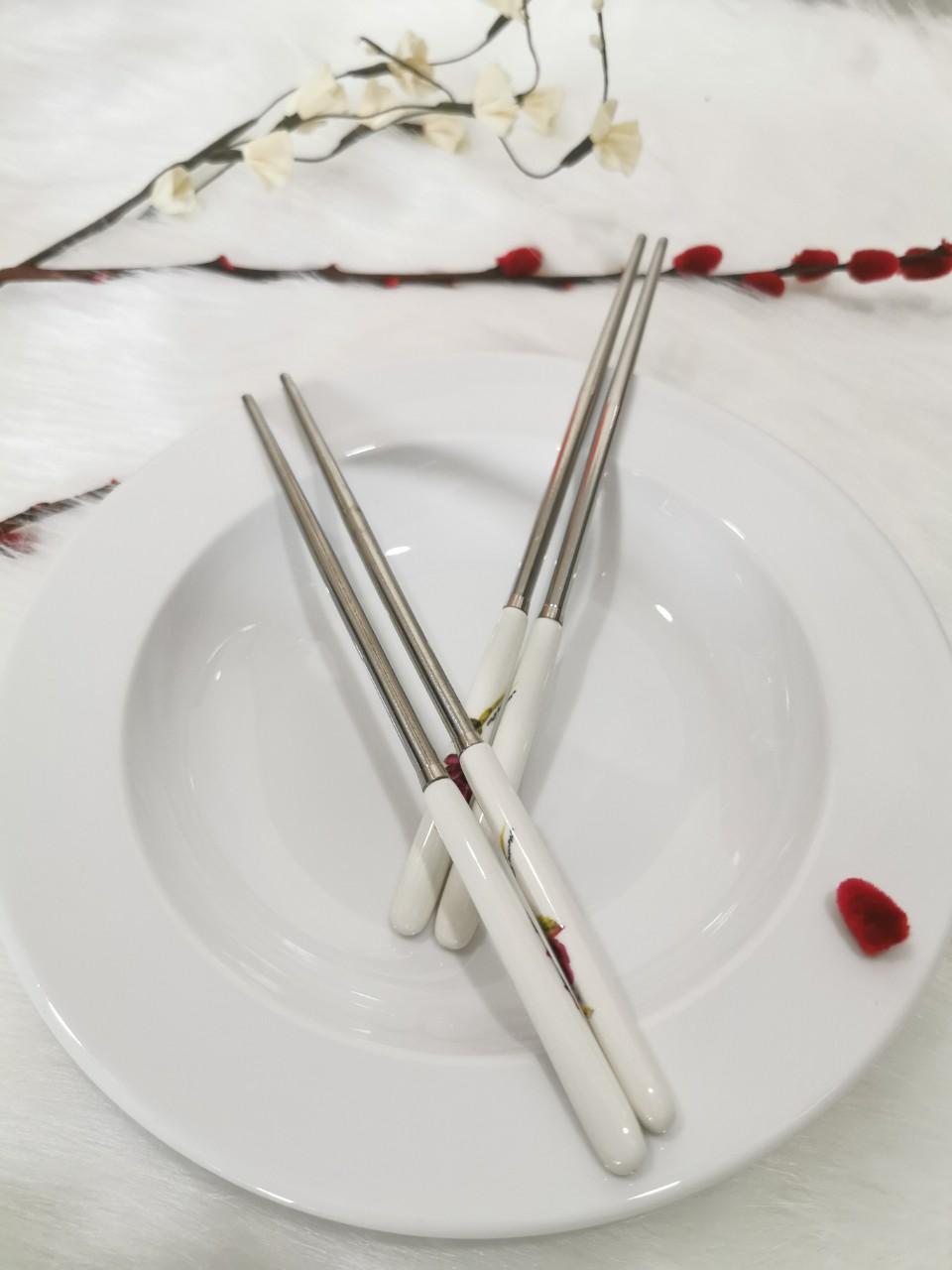 Bộ 2 đôi đũa ăn Inox kết hợp sứ Hàn Quốc