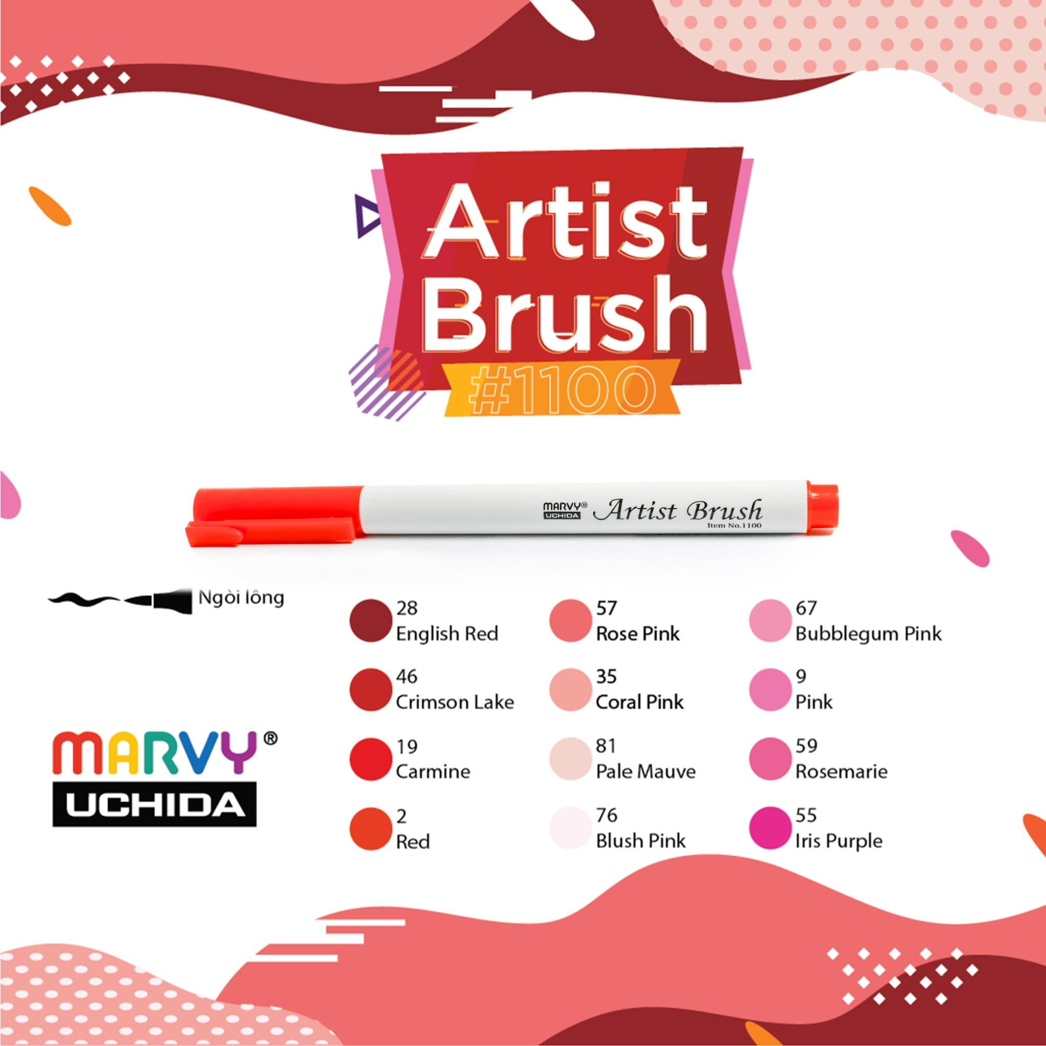 Bút lông đầu cọ viết calligraphy Marvy Artist Brush 1100 - Rose Pink (57)