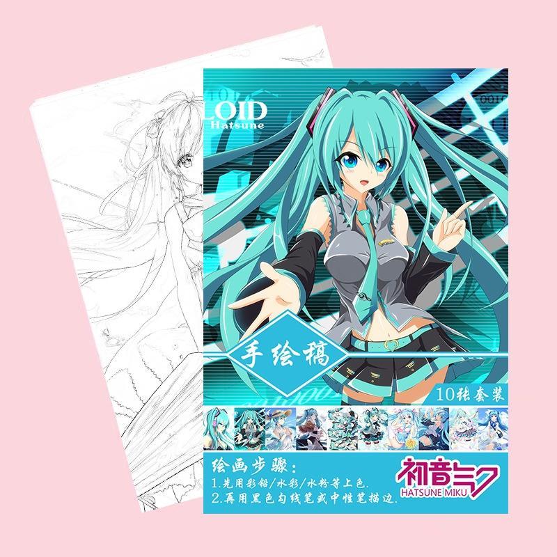 Tranh tô màu Hatsune Miku tập bản thảo phác họa anime manga chibi