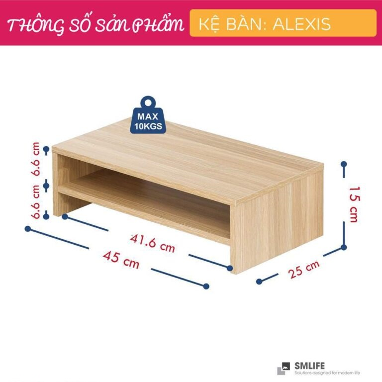 Kệ để bàn gỗ hiện đại SMLIFE Alexis