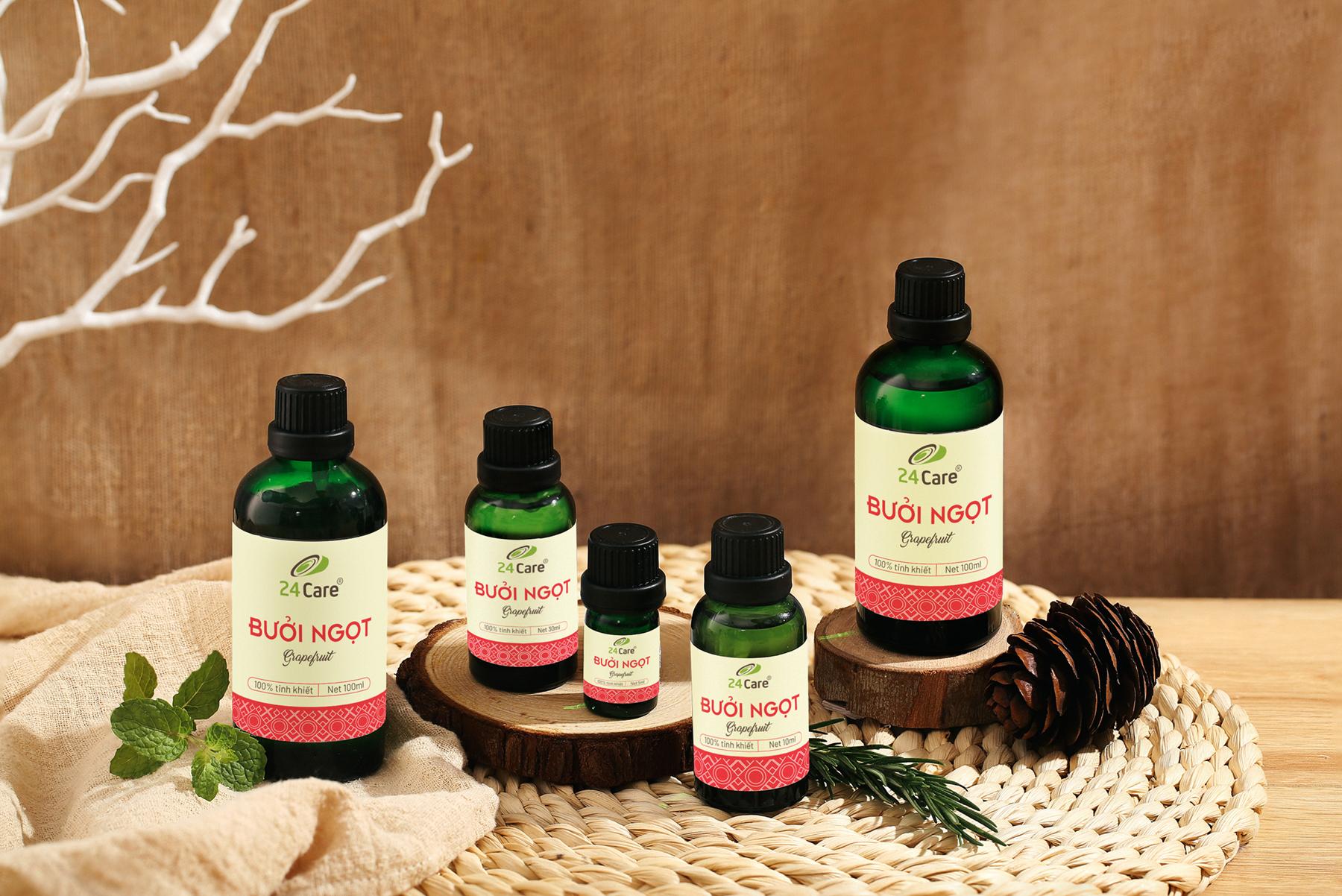 Tinh dầu Bưởi Úc 24Care 100ML - Chiết xuất thiên nhiên, khử mùi, thơm phòng, thư giãn tinh thần.