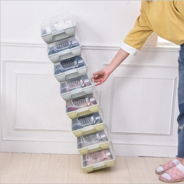 Combo 2 hộp đựng giày có nắp trong suốt (giao màu ngẫu nhiên)