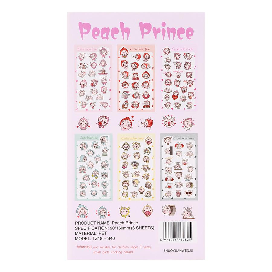 Bộ 6 Tấm Sticker Dán Trang Trí - Peach Prince