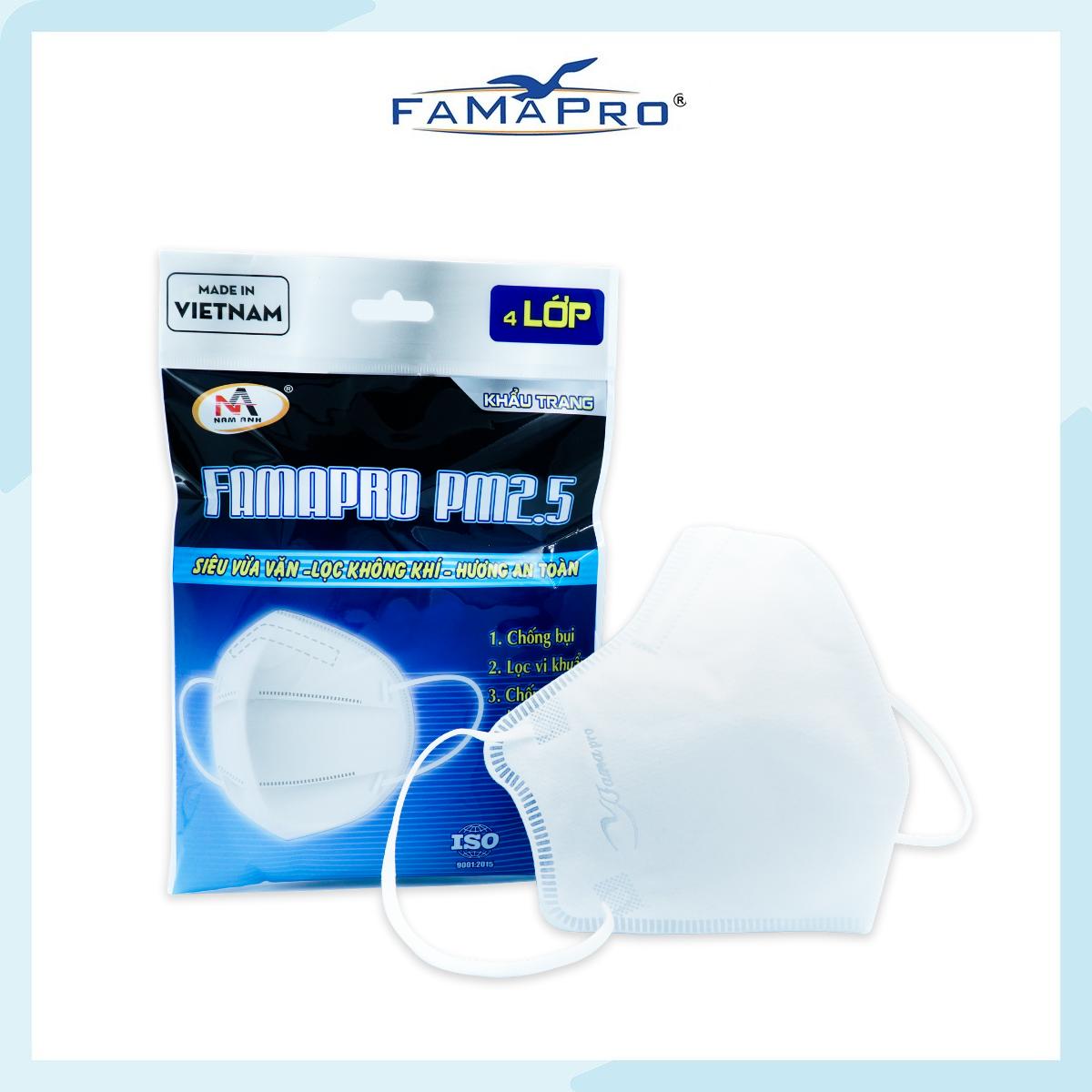Khẩu trang y tế 4 lớp kháng khuẩn Famapro PM2.5 màu trắng (5 cái/ túi)