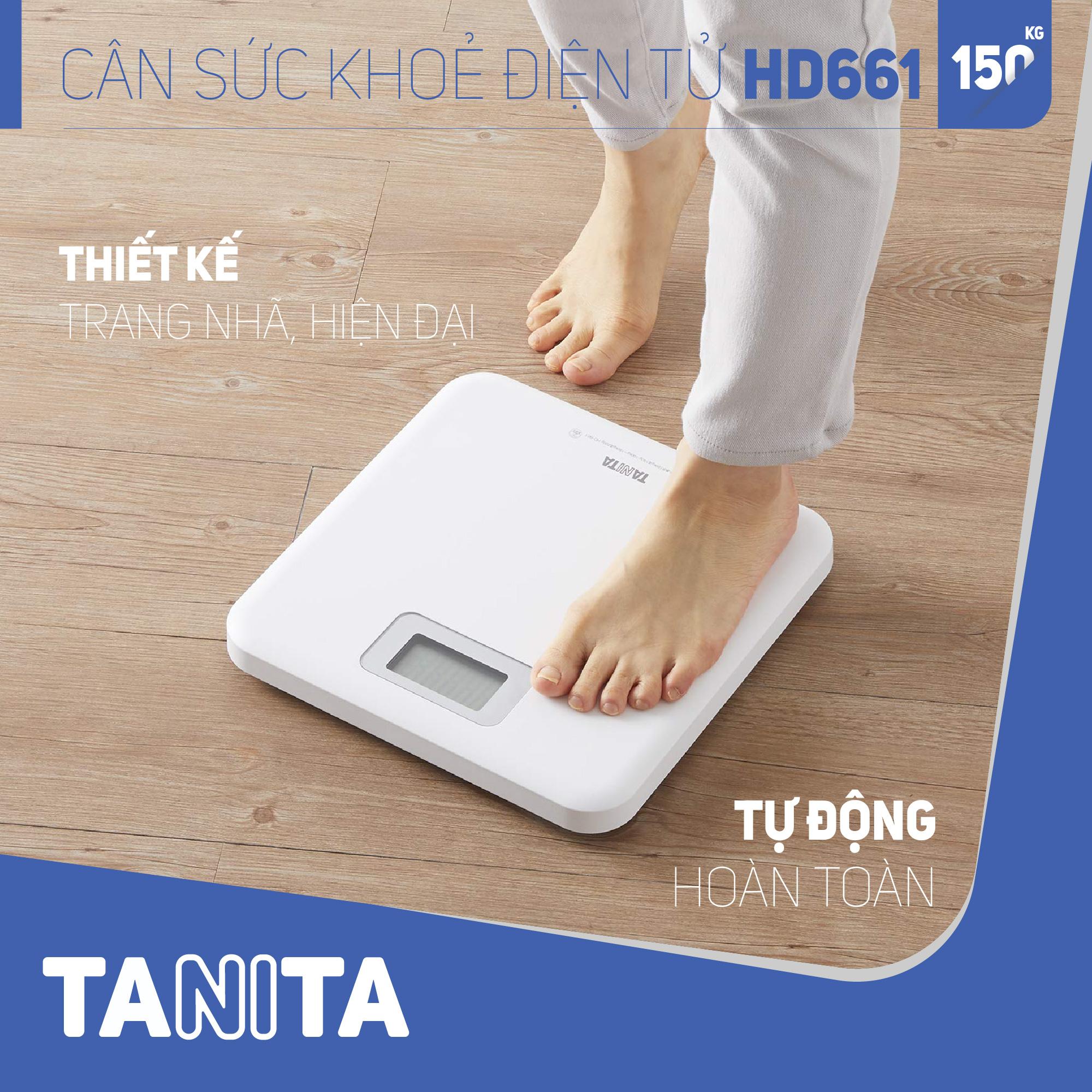 Cân sức khỏe điện tử Tanita HD661 Màu Trắng, Nhật Bản Tanita,chính hãng nhật bản,cân điện tử,cân chính hãng,cân nhật,cân sức khoẻ y tế,cân sức khoẻ gia đình,cân sức khoẻ cao cấp,120kg,130kg,150kg,Cân phân tích chỉ số cơ thể,Cân sức khoẻ mini,cân tanita