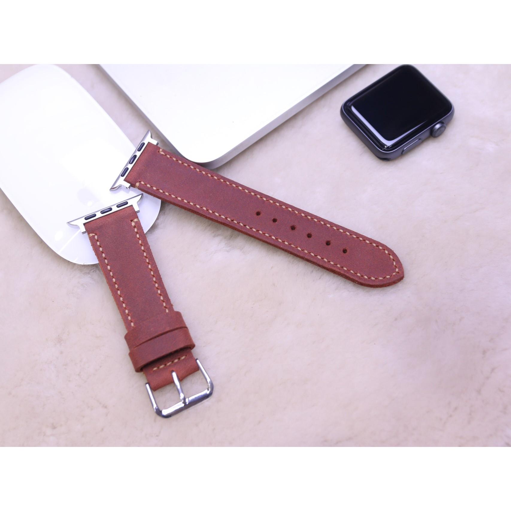 Dây Đeo Thay Thế Dành Cho Apple Watch - Da dò sáp Nâu Đỏ Handmade