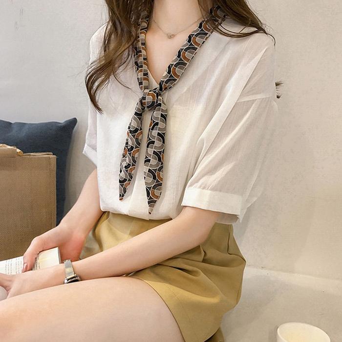 Áo kiều nữ cổ nơ điệu đà, chất vải kate mềm mát, thời trang xuân hè 2021 - Trắng