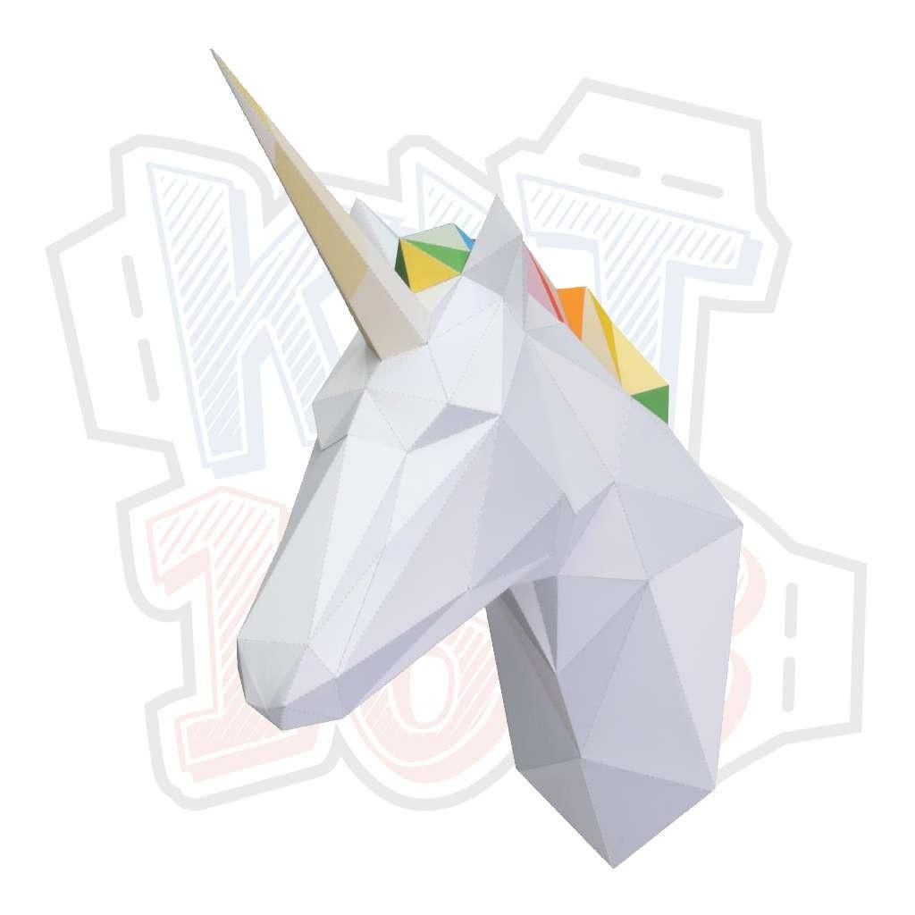 Mô hình giấy động vật Đầu ngựa một sừng treo tường