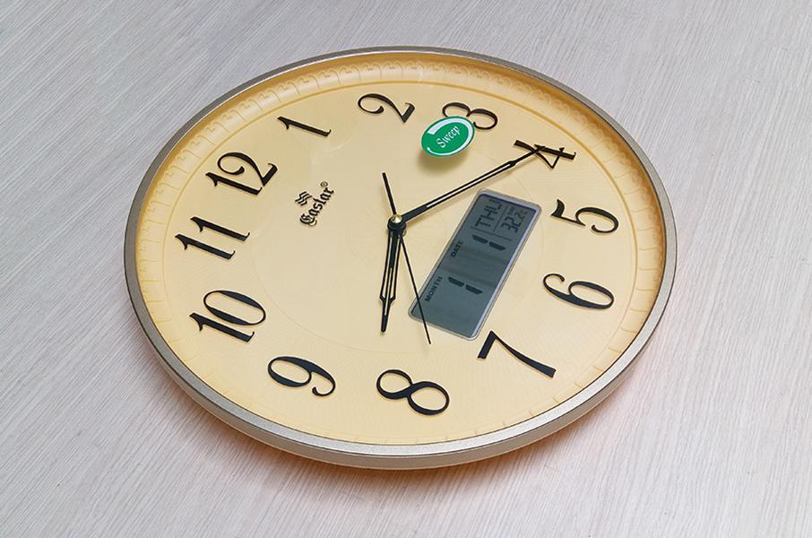 Đồng hồ EASTAR Hoa văn nổi 3D, có Lịch và Nhiệt kế Điện tử