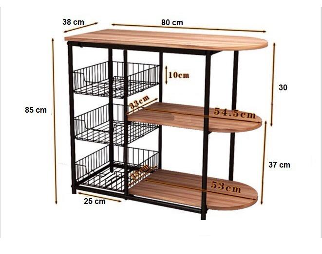 Kệ để đồ nhà bếp 176 loại khung thép sơn tĩnh điện chống gỉ và bong tróc,chịu lực cao mặt gỗ lõi xanh phủ melamine chống nước