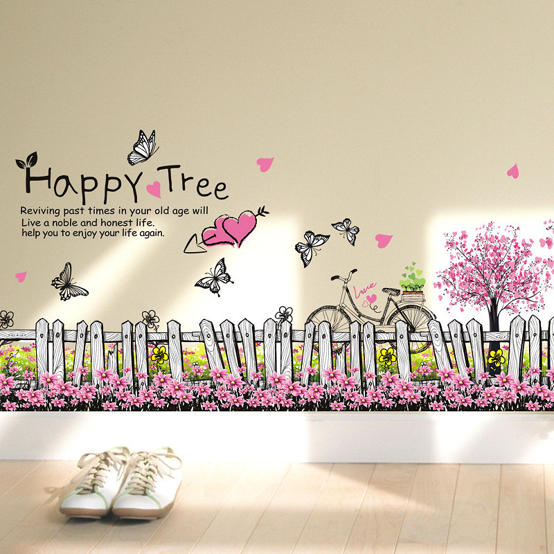 Decal trang trí dán tường hàng rào hoa bướm lãng mạn ZOOYOO XL7080