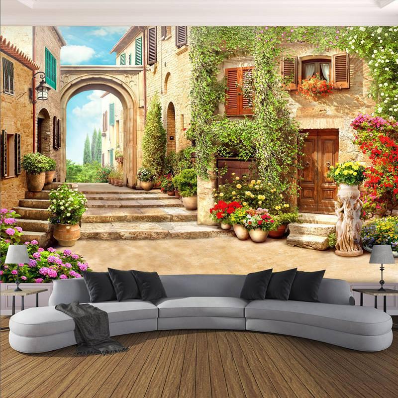Tranh dán tường 3D khu phố cổ 3 TC45 - 150x200 cm