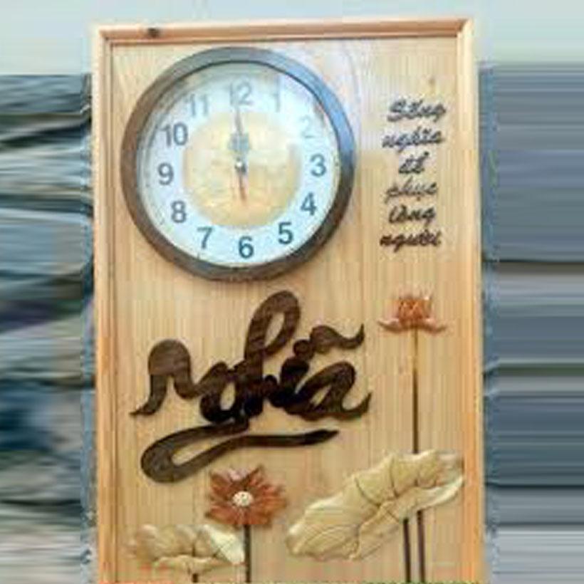 Tranh  đồng hồ  bằng gỗ sồi chữ NGHĨA trang trí cho mọi gia đình