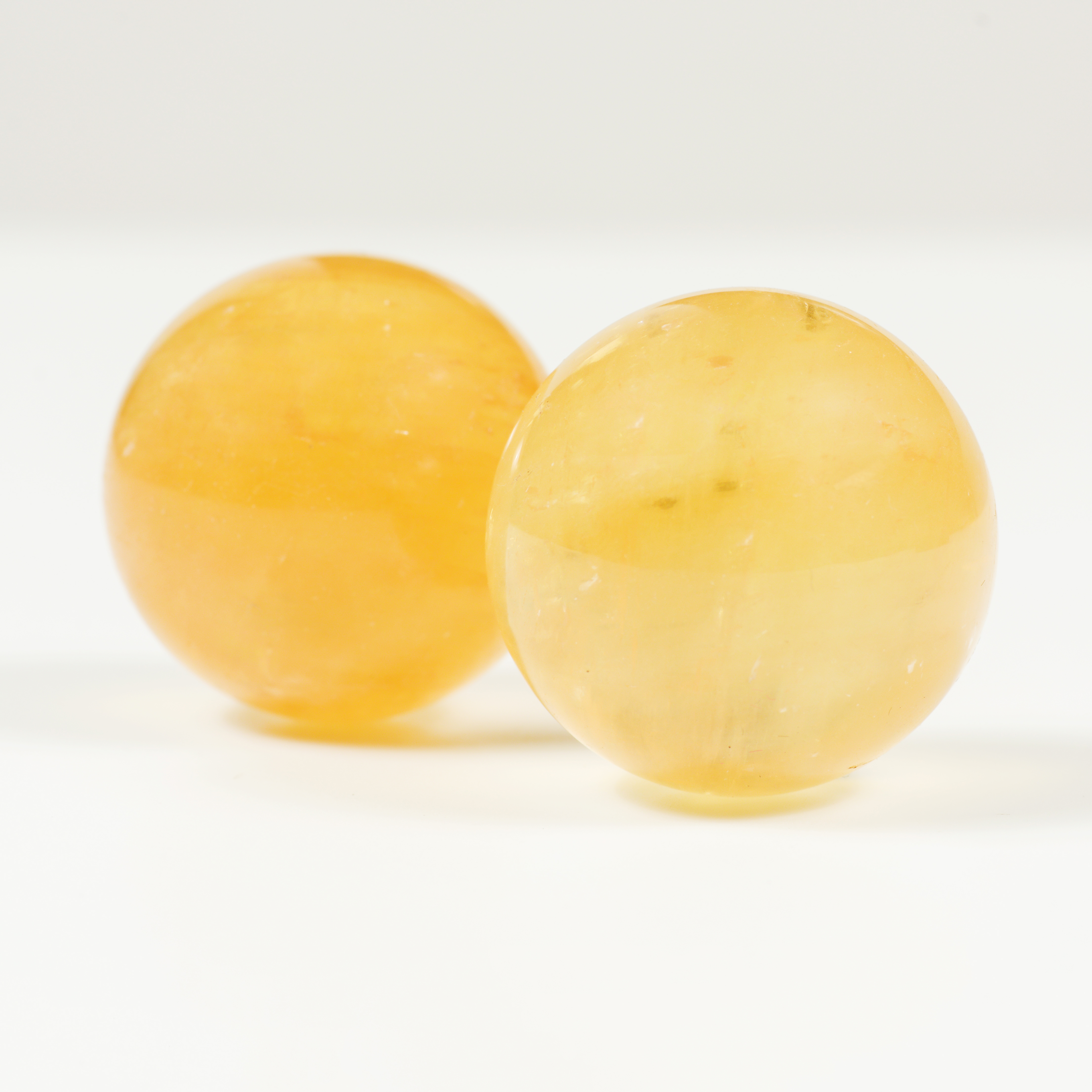 Cặp Bi Lăn Tay Đá Thạch Anh Vàng Tự Nhiên - Maxi - 40mm - Hợp Với Mệnh Kim, Thổ