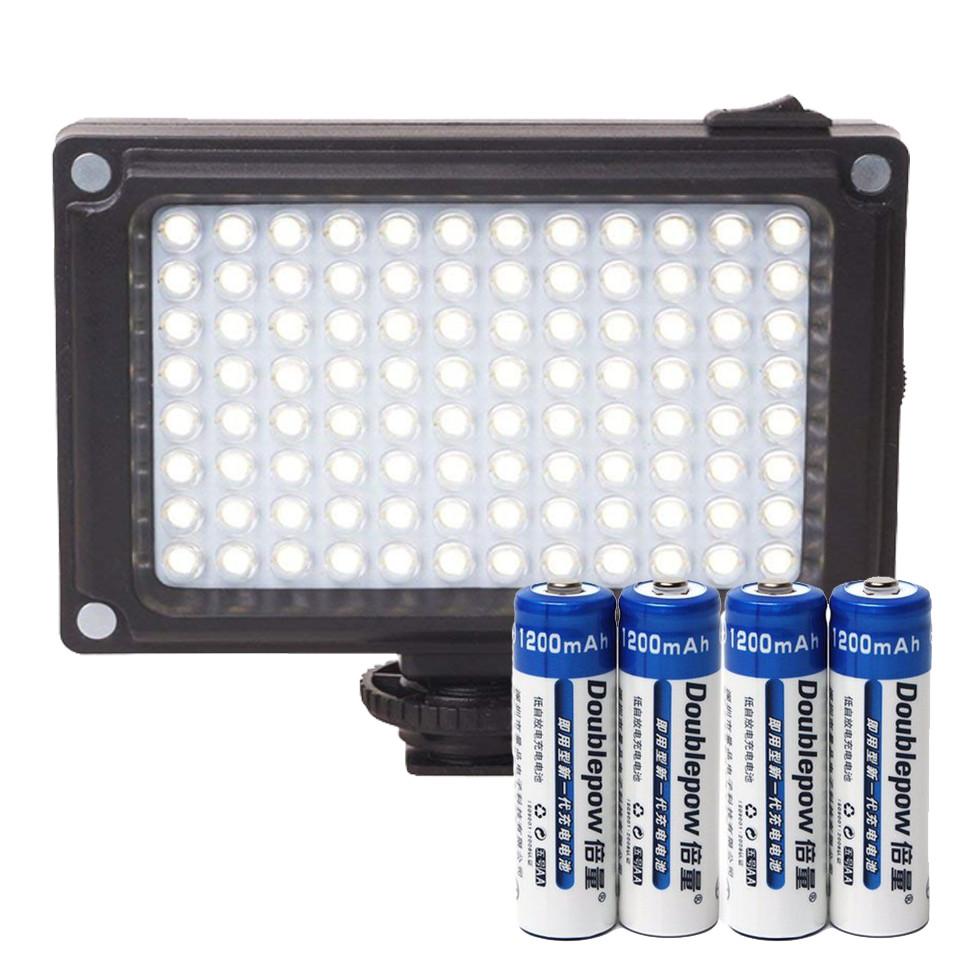 Đèn 96 LED Trợ Sáng Kèm 04 Pin Sạc AA 1200mAh Doublepow Cao Cấp AZONE