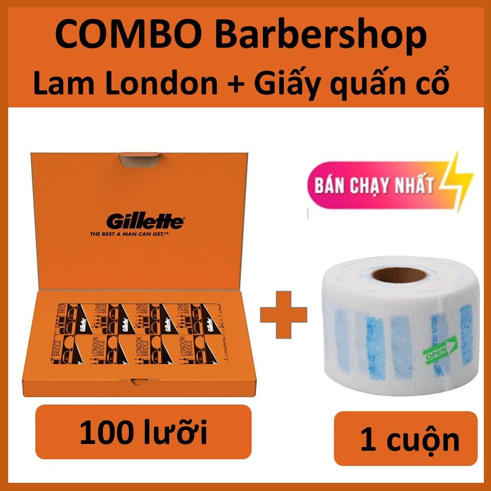 [Siêu khuyến mãi dành cho Barbershop] Gillette London Bridge (Cam) 1 hộp100 lưỡi tặng kèm 1 cuộn giấy cổ 100 cái/hộp