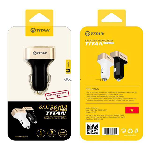 Sạc Xe Hơi 4 Cổng USB Titan SO11 - Hàng Chính Hãng
