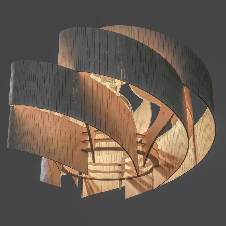 Đèn gỗ thả trần CAO CẤP hiện đại sang trọng 40x50cm chất liệu gỗ trang trí cho phòng khách nhà căn hộ decor nhà quán cafe