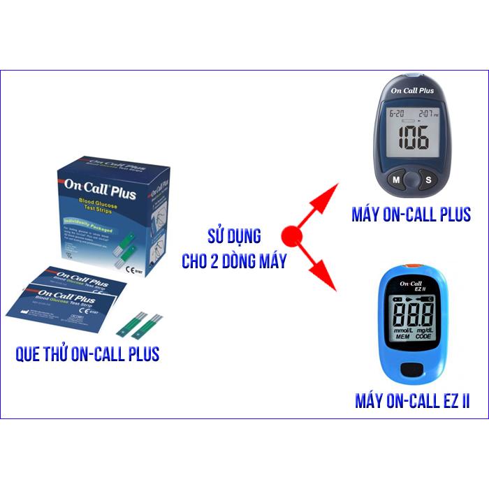 Combo 3 hộp que thử đường huyết ACON ON-CALL PLUS (75 que / 3 hộp) - NHẬP KHẨU MỸ