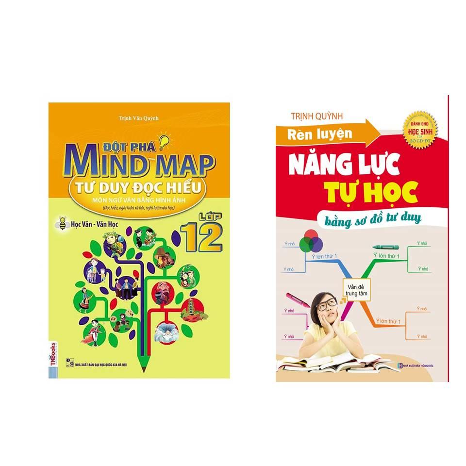 Combo Học tốt ngữ văn lớp 12: Đột Phá Mindmap - Tư Duy Đọc Hiểu Môn Ngữ Văn Bằng Hình Ảnh Lớp 12 + Rèn luyện năng lực tự học (tặng sổ tay vẽ sơ đồ tư duy)