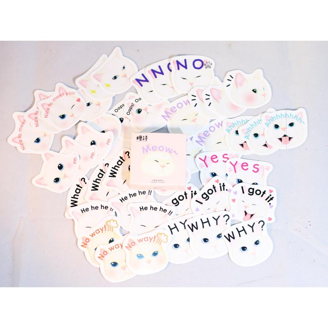 Hộp 45 Miếng Dán Sticker Trang Trí Meow