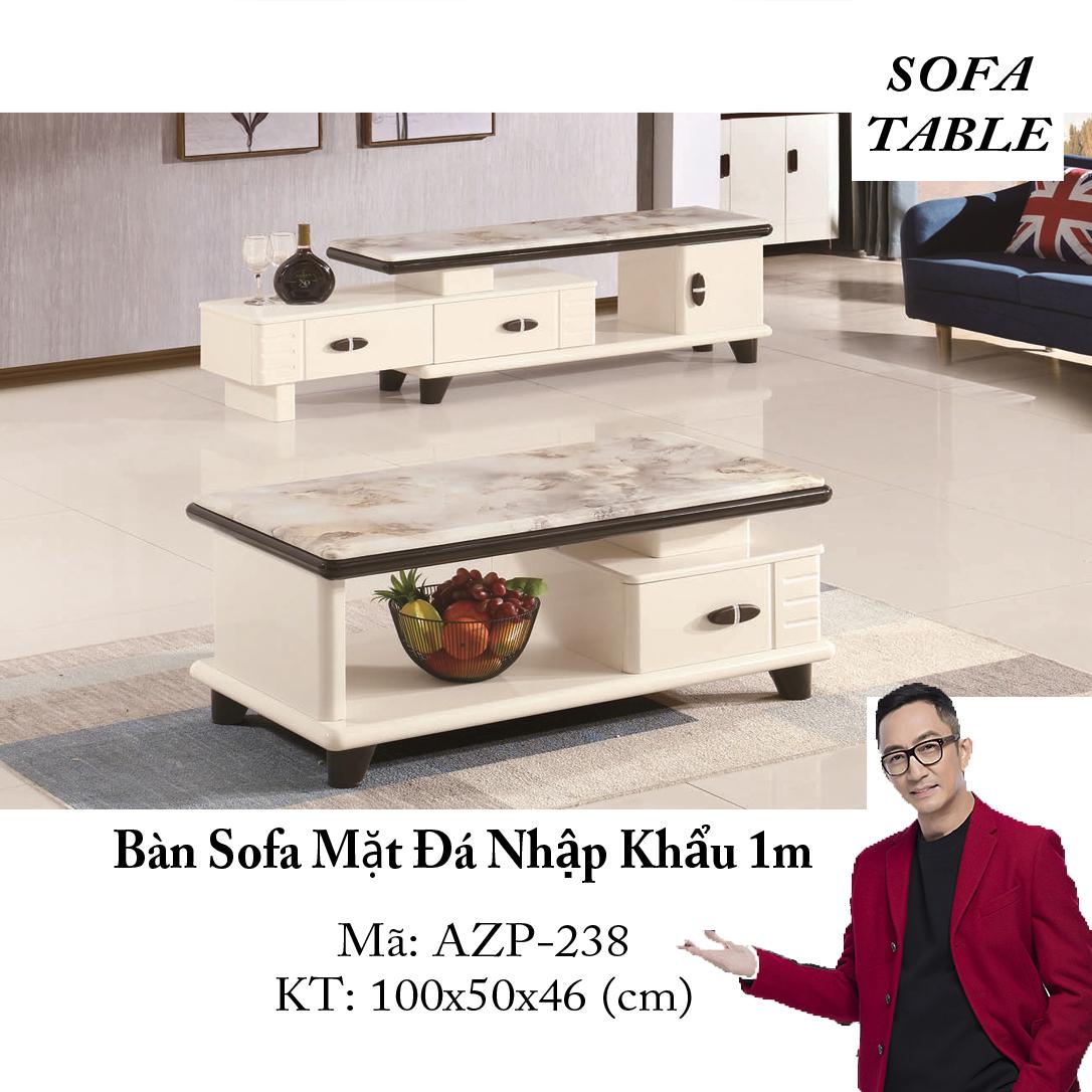 Bàn Sofa Mặt Đá Size 1.0m / 1 Ngăn Kéo / Dòng Cao Cấp - Hàng Nhập Khẩu AZP-T238