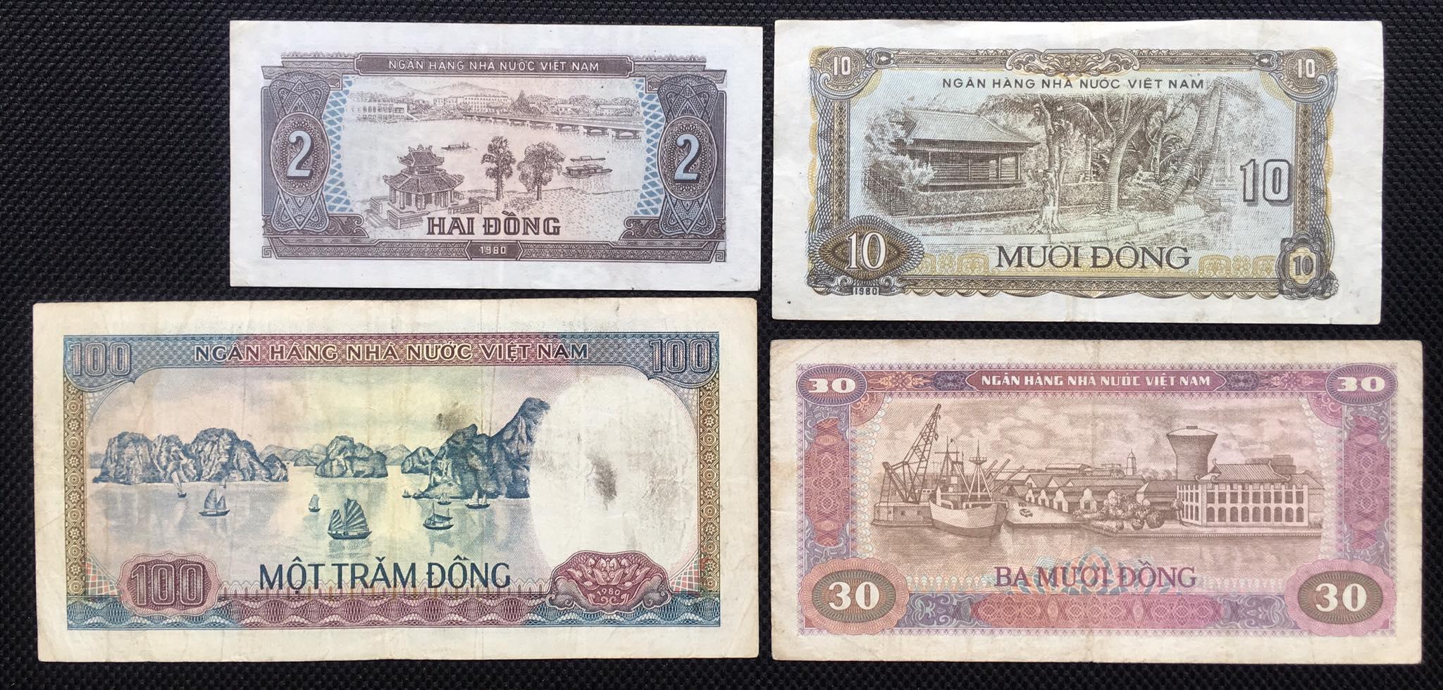 Đủ bộ tiền Việt Nam bao cáp 1980 - 1981. 4 tờ sưu tầm