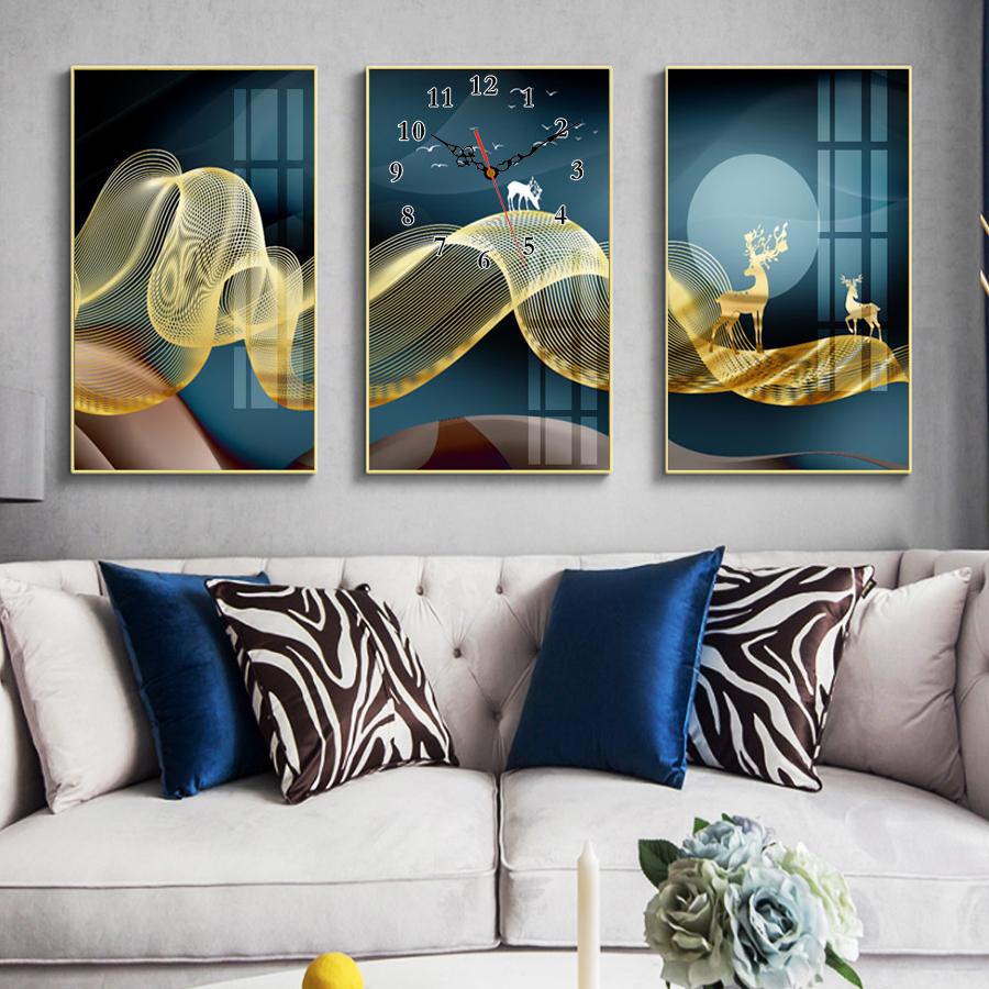 Tranh treo tường, tranh đồng hồ NT193 bộ 3 tấm ghép