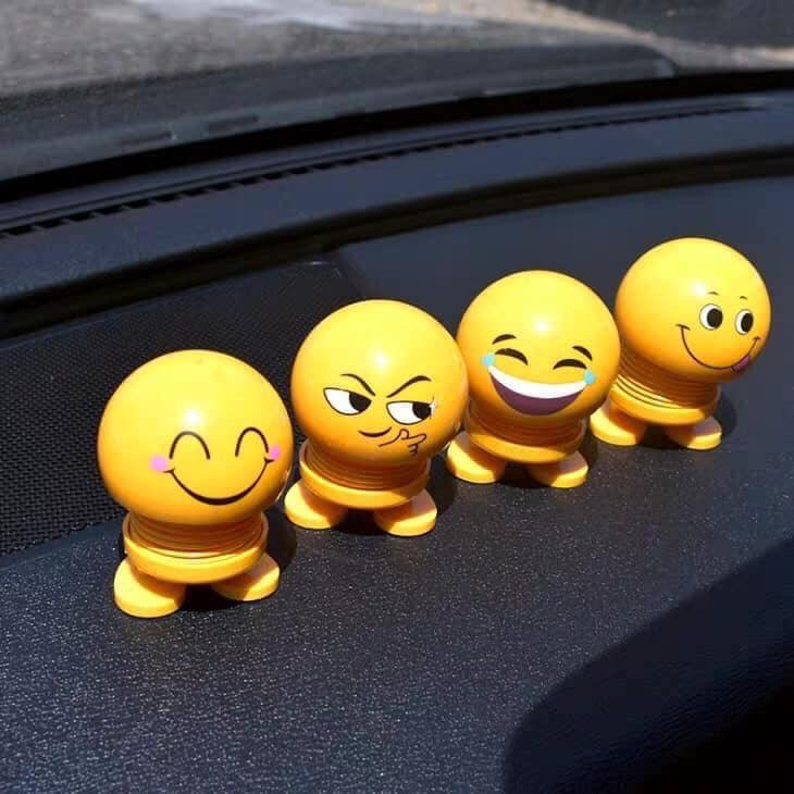 Thú nhún Emoji lò xo lắc đầu mặt cười siêu dễ thương, Trang trí xe ô tô, để bàn làm việc