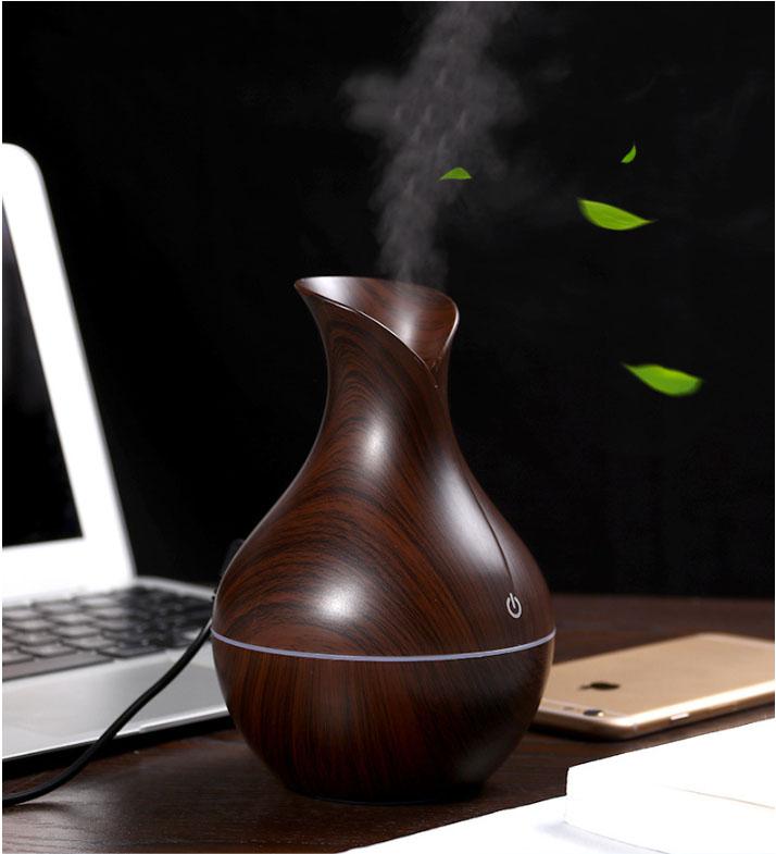 Máy khuếch tán tinh dầu, tạo ẩm bình tulip màu vân gỗ tối 130ml