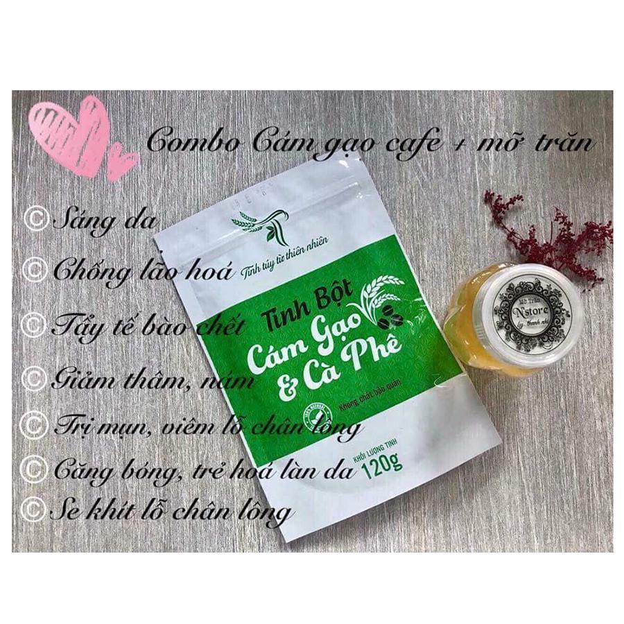 Combo Tẩy Tế Bào Chết - Tắm Trắng, Giảm Thâm Nám, Giảm Viêm Nang lông, Mụn Lưng Mỡ Trăn N'store và Tinh Bột Cám Gạo & Cafe