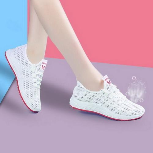 Giày thể thao nữ thời trang du lịch dạng lưới thoáng khí, đế mềm