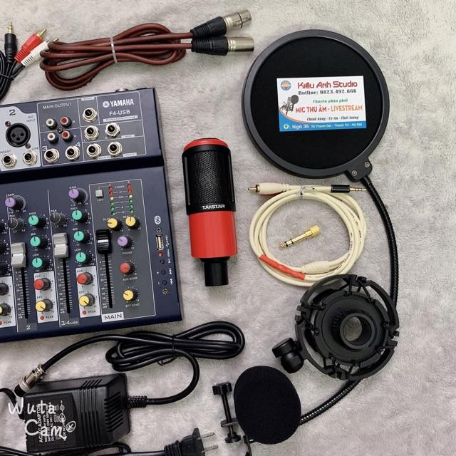 Bộ combo thu âm livestream Takstar PC K320 chính hãng và suondcard mixer f4 yamaha blutooth full phụ kiện