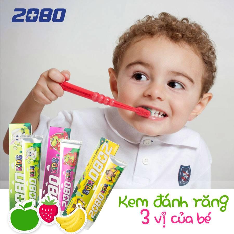 Kem đánh răng 2080 Kid's cho trẻ em hương chối Hàn Quốc 80g tặng kèm móc khóa