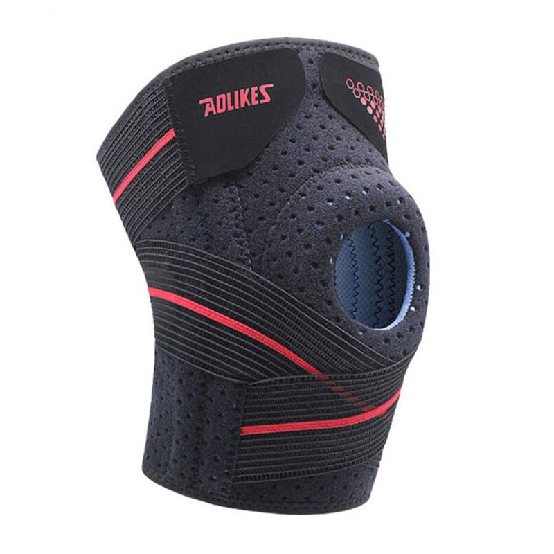 Bó bảo vệ khớp gối AOLIKES YE-7909 thiết kế nẹp lò xo hỗ trợ đầu gối Pressurized knee support - Hàng Chính Hãng